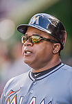20 September 2015: Miami Marlins Third Base Coach and Assistant Hitting Coach Lenny Harris stands ready in the dugout during a game against the Washington Nationals at Nationals Park in Washington, DC. The Marlins fell to the Nationals 13-3 in the final game of their 4-game series. Mandatory Credit: Ed Wolfstein Photo *** RAW (NEF) Image File Available ***