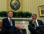NATO Secretary-General Jens Stoltenberg, left, makes remarks to the press as he and United States President Barack Obama meet in the Oval Office of the White House in Washington, D.C. on Tuesday, May 26, 2015 <br /> Credit: Dennis Brack / Pool via CNP