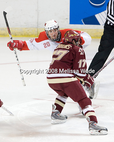 Pat Cannone (Miami - 20), Brian Gibbons (BC - 17) - The Boston College Eagles defeated the Miami University Redhawks 4-3 in overtime on Sunday, March 30, 2008 in the NCAA Northeast Regional Final at the DCU Center in Worcester, Massachusetts.