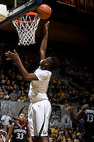 Afure Jemerigbe of California tosses the ball into the basket during the game against Stanford at Haas Pavilion in Berkeley, California on January 8th, 2013.  Stanford defeated California, 62-53.