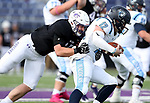 SIOUX FALLS, SD - OCTOBER 27: Joey Wehrkamp #45 from the University of Sioux Falls brings down quarterback Brent Lammers #12 from Upper Iowa during their game Saturday at Bob Young Field in Sioux Falls. (Photo by Dave Eggen/Inertia)