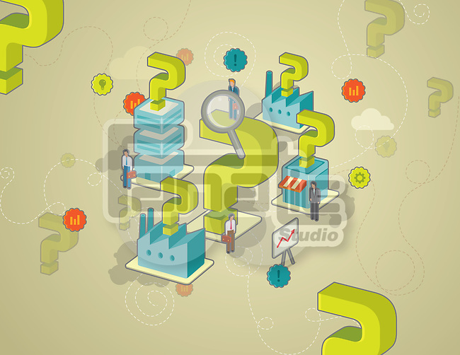 Illustration of buildings and industries with question mark surrounded by businesspeople depicting concept of business consultancy
