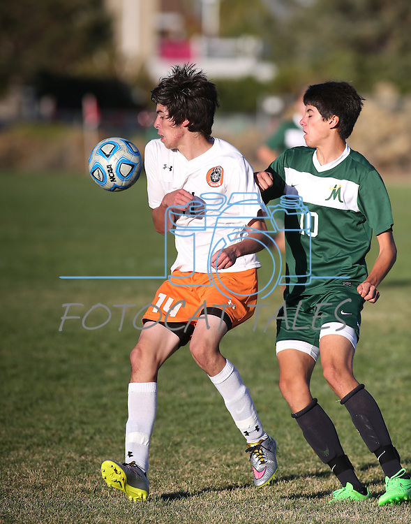 Douglas boys soccer defeats Manogue 4-2 at Douglas High School in Minden, Nev., on Wednesday, Oct. 21, 2015. <br /> Photo by Cathleen Allison