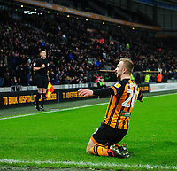 Hull City's Jarrod Bowen celebrates scoring his side's second goal from the penalty spot<br /> <br /> Photographer Chris Vaughan/CameraSport<br /> <br /> The EFL Sky Bet Championship - Hull City v Sheffield Wednesday - Saturday 12th January 2019 - KCOM Stadium - Hull<br /> <br /> World Copyright © 2019 CameraSport. All rights reserved. 43 Linden Ave. Countesthorpe. Leicester. England. LE8 5PG - Tel: +44 (0) 116 277 4147 - admin@camerasport.com - www.camerasport.com