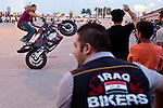 Mcc0070043 . Daily Telegraph<br /> <br /> DT News<br /> <br /> A motorbike meeting under Jadriyah Bridge in Baghdad . Every Friday hundreds of bikers meet up including the Iraq Bikers a club founded towards the end of the Coalition's occupation of Iraq . <br /> <br /> Baghdad 13 May 2016