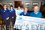John O'Sullivan of the Munster Bar presents a cheque to Maureen O'Brien from Recovery Haven in the Munster Bar on Thursday night last. L-r Christine McAuliffe, Philomena Stack, Tina Cunningham, Maureen O'Brien and John O'Sullivan.