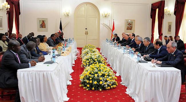 Egyptian President Abdel Fattah el-Sisi, meets with Kenyan President Uhuru Kenyatta at Government Palace in Nairobi, Kenya on February 18, 2017. Photo by Egyptian President Office