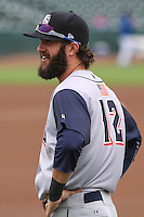 Colorado Springs Sky Sox outfielder Matt Long (12) prior to a Pacific Coast League game against the Iowa Cubs on May 11th, 2015 at Principal Park in Des Moines, Iowa.  Colorado Springs defeated Iowa 13-7.  (Brad Krause/Four Seam Images)