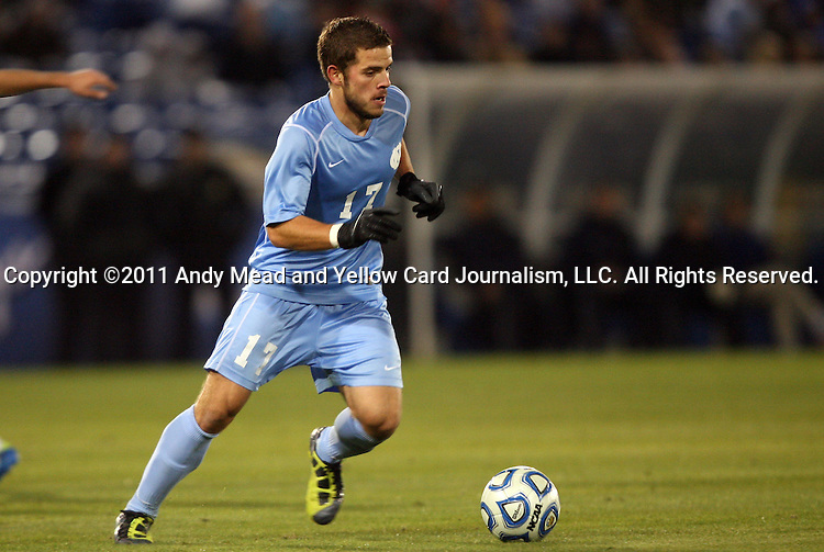 09 December 2011: North Carolina's Ben Speas. The University of California Los Angeles Bruins played the University of North Carolina Tar Heels to a 2-2 tie after overtime, with the Tar Heels advancing with a 3-1 win in the penalty kick shootout at Regions Park in Hoover, Alabama in an NCAA Division I Men's Soccer College Cup semifinal game.