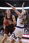 SIOUX FALLS, SD: MARCH 7: Jenna Gunn #32 of IUPUI readies a shot against Western Illinois defender Taylor Higginbotham #24 during the Women's Summit League Basketball Championship Game on March 7, 2017 at the Denny Sanford Premier Center in Sioux Falls, SD. (Photo by Dick Carlson/Inertia)