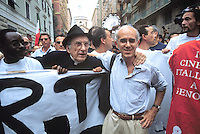 manifestations against the international G8 summit in Genoa, July 2001, Vittorio Agnoletto, No Global leader and don Andrea Gallo....- manifestazioni contro il summit internazionale G8 a Genova nel luglio 2001, Vittorio Agnoletto, leader No Global e don Andrea Gallo