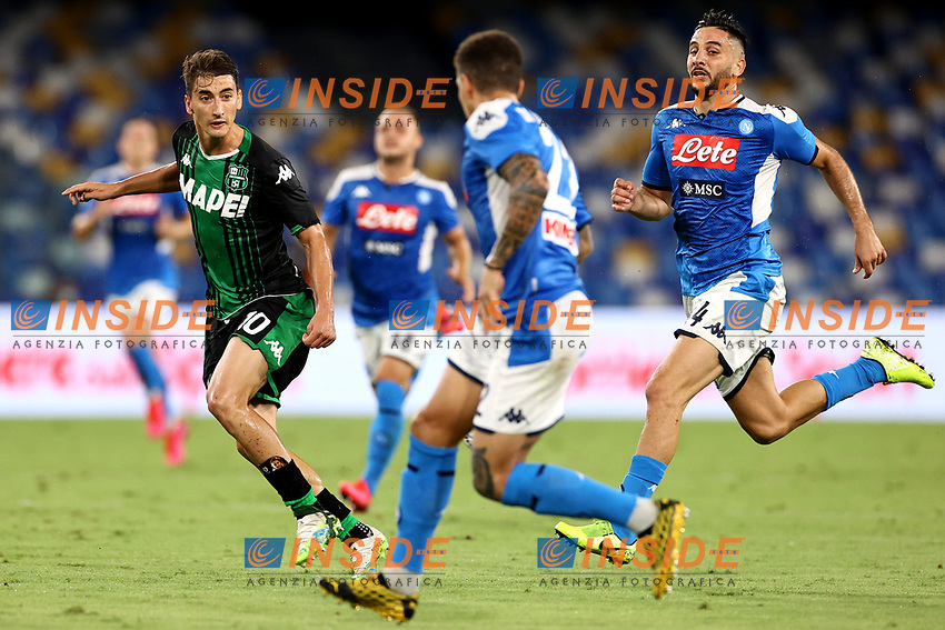 Filip Djuricic of US Sassuolo and Konstantinos Manolas of SSC Napoli compete for the ball during the Serie A football match between SSC Napoli and US Sassuolo at stadio San Paolo in Napoli ( Italy ), July 25th, 2020. Play resumes behind closed doors following the outbreak of the coronavirus disease. <br /> Photo Cesare Purini / Insidefoto