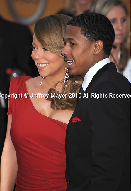 LOS ANGELES, CA. - January 23: Mariah Carey and Nick Cannon arrive at the 16th Annual Screen Actors Guild Awards held at The Shrine Auditorium on January 23, 2010 in Los Angeles, California.