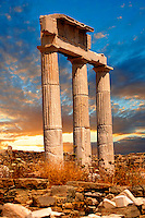 Doric Columns of the Temple of Poseidon The ruins of the Greek city of Delos, the birthplace of the twin gods Apollo and Artemis. Greek Cyclades Islands.