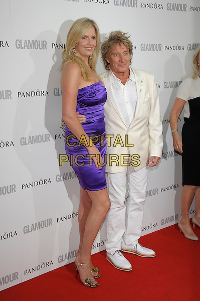 Penny Lancaster, Rod Stewart.Women Of The Year 2012 - Glamour Awards, Berkeley Square, London, England..29th May 2012.full length white black suit dress  purple strapless silk satin married husband wife .CAP/PL.©Phil Loftus/Capital Pictures.