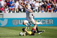 Carson, CA - Sunday, February 8, 2015 Clint Dempsey (8) of the USMNT beats goalkeeper Jaime Penedo (1) of Panama. The USMNT defeated Panama 2-0 during an international friendly at the StubHub Center.