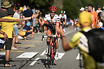 Koen De Kort (NED) Trek-Segafredo climbs Alpe d'Huez during Stage 12 of the 2018 Tour de France running 175.5km from Bourg-Saint-Maurice les Arcs to Alpe D'Huez, France. 19th July 2018. <br /> Picture: ASO/Pauline Ballet | Cyclefile<br /> All photos usage must carry mandatory copyright credit (&copy; Cyclefile | ASO/Pauline Ballet)