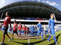 29 APR 2009 - LONDON,GBR -  Loughborough University (blue) v UWE Hartpury (red and black) - BUCS Mens Football Championships '09. (PHOTO (C) NIGEL FARROW)