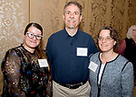 WATERBURY, CT-042518JS06- Sandra Pagan, a student at NVCC; Associate Dean Ron Picard and Margaret Picard with Waterbury Hospital, at the Naugatuck Valley Community College Foundation's Leadership Breakfast held at La Bella Vista in Waterbury.   <br /> Jim Shannon Republican American
