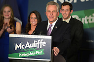 November 5, 2013  (Tysons Corner, Virginia)  Democrat Terry McAuliffe gives his victory speech at the Sheraton Tyson's Corner after winning election to the Virginia governor's office.  (Photo by Don Baxter/Media Images International)