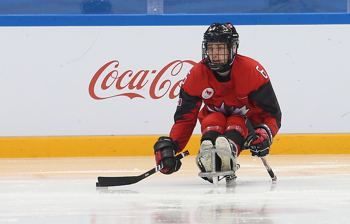 Pyeongchang, Korea, 10/3/2018-Rob Armstrong of Canada plays Sweden in hockey during the 2018 Paralympic Games in PyeongChang. Photo Scott Grant/Canadian Paralympic Committee.