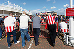 Sunderland fans listening to their former player Kevin Phillips talking in the fan zone outside the stadium.Sunderland 2 Portsmouth 1, 17/08/2019. Stadium of Light, League One. Photo by Paul Thompson.