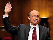 """Lloyd Blankfein, Chairman and Chief Executive Officer, The Goldman Sachs Group, Inc. (GSI), is sworn-in to testify before the United States Senate Permanent Subcommittee on Investigations hearing on """"Wall Street and the Financial Crisis: The Role of Investment Banks"""" using Goldman Sachs as a case study on Tuesday, April 27, 2010. .Credit: Ron Sachs / CNP.(RESTRICTION: NO New York or New Jersey Newspapers or newspapers within a 75 mile radius of New York City)"""