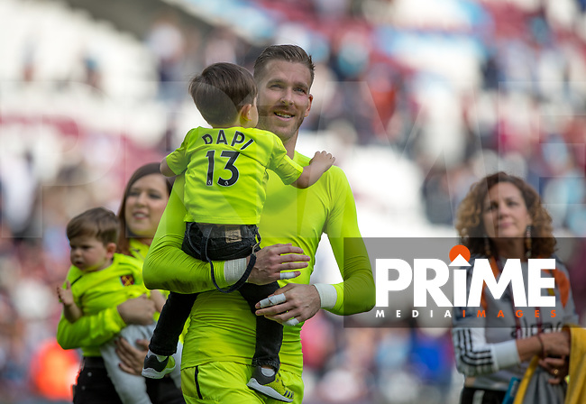 Goalkeeper Adrian of West Ham with family at full time during the Premier League match between West Ham United and Everton at the Olympic Park, London, England on 13 May 2018. Photo by Andy Rowland / PRiME Media Images.