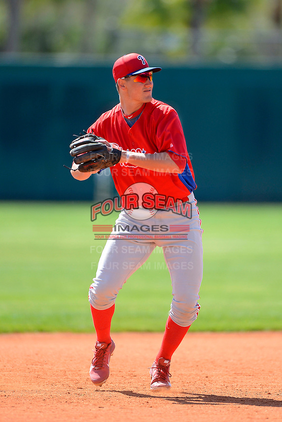 Philadelphia Phillies infielder Mitch Walding (16) during practice before a minor league Spring Training game against the Atlanta Braves at Al Lang Field on March 14, 2013 in St. Petersburg, Florida.  (Mike Janes/Four Seam Images)