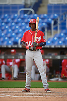 Washington Nationals Andry Arias (30) at bat during a Florida Instructional League game against the Miami Marlins on September 26, 2018 at the Marlins Park in Miami, Florida.  (Mike Janes/Four Seam Images)