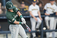 Michigan State Spartans third baseman Marty Bechina (2) swings the bat against the Michigan Wolverines during the NCAA baseball game on April 18, 2017 at Ray Fisher Stadium in Ann Arbor, Michigan. Michigan defeated Michigan State 12-4. (Andrew Woolley/Four Seam Images)