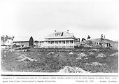 A distant, panoramic view of the A. T. Sullenberger home near the Pagosa Lumber Co. mill site.<br /> Pagosa Lumber Co.  South Pagosa Springs, CO  Taken by Sullenberger, Robert - 2/22/1889