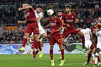 Leonardo Spinazzola of AS Roma , Hakan Calhanoglu of AC Milan , Javier Pastore of AS Roma , Federico Fazio of AS Roma <br /> Roma 27-10-2019 Stadio Olimpico <br /> Football Serie A 2019/2020 <br /> AS Roma - AC Milan<br /> Foto Andrea Staccioli / Insidefoto