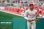 11 September 2016: Philadelphia Phillies outfielder and Baseball America top prospect Roman Quinn trots back to the dugout during his major league debut game against the Washington Nationals at Nationals Park in Washington, DC. The Nationals edged out the Phillies 3-2 to take the rubber match of their 3-game series. Mandatory Credit: Ed Wolfstein Photo *** RAW (NEF) Image File Available ***
