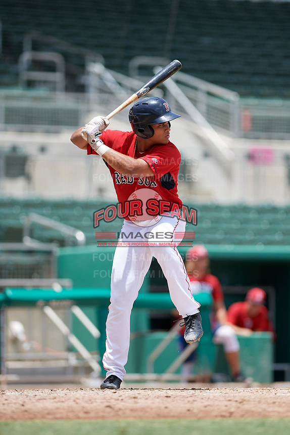 GCL Red Sox designated hitter Brandon Howlett (5) at bat during a game against the GCL Orioles on August 9, 2018 at JetBlue Park in Fort Myers, Florida.  GCL Red Sox defeated GCL Orioles 10-4.  (Mike Janes/Four Seam Images)
