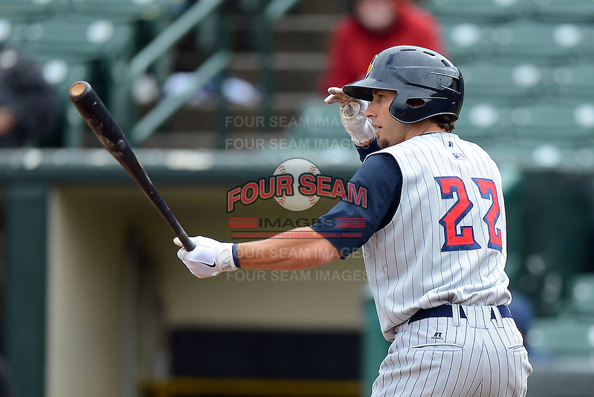 Toledo Mudhens outfielder Ben Guez #22 during a game against the Rochester Red Wings on June 11, 2013 at Frontier Field in Rochester, New York.  Toledo defeated Rochester 9-5.  (Mike Janes/Four Seam Images)