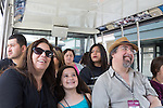 A family on the Tram Tour at Universal Studios Hollywood theme park in Los Angeles, CA