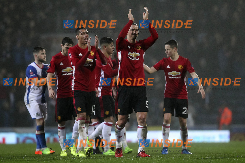 Zlatan Ibrahimovic of Manchester United celebrates at full time of the FA Cup Fifth Round match between Blackburn Rovers and Manchester United at Ewood Park on February 19th 2017 in Blackburn, England. <br /> Foto PHC Images / Panoramic / Insidefoto <br /> ITALY ONLY
