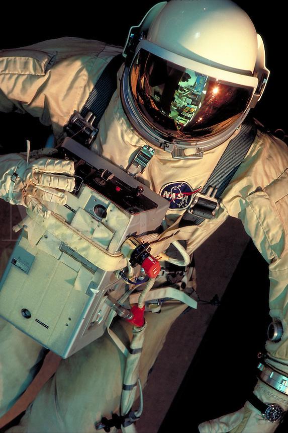A NASA space suit, EVA suit. (Extravehicular Activity Suit), National Aeronautics and Space Administration. Tc Ho Na. Houston Texas, NASA visitors center.