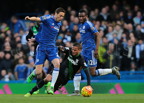 05.03.2016. Stamford Bridge, London, England. Barclays Premier League. Chelsea versus Stoke City. Stoke City Midfielder Ibrahim Afellay slips during a tackle with Chelsea Midfielder Nemanja Matić