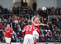 Steven Thompson climbs above Andrew Considine in the St Mirren v Aberdeen Clydesdale Bank Scottish Premier League match played at St Mirren Park, Paisley on 9.11.12.