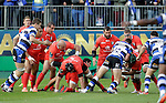 Ollie Devoto of Bath is held up by theToulouse defence- European Rugby Champions Cup - Bath Rugby vs Toulouse - Recreation Ground Bath - Season 2014/15 - October 25th 2014 - <br /> Photo Malcolm Couzens/Sportimage
