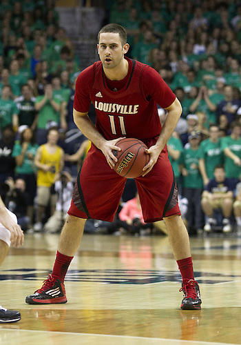 February 09, 2013:  Louisville forward Luke Hancock (11) during NCAA Basketball game action between the Notre Dame Fighting Irish and the Louisville Cardinals at Purcell Pavilion at the Joyce Center in South Bend, Indiana.  Notre Dame defeated Louisville 104-101 in five overtimes.