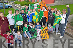 C'MON YOU BOYS IN GREEN: A group for the Shanakill Youth Club heading off to the Aviva Stadium on Tuesday for the Ireland-Armenia game, pictured here with group leaders, Nicola Moore and Junior Locke.