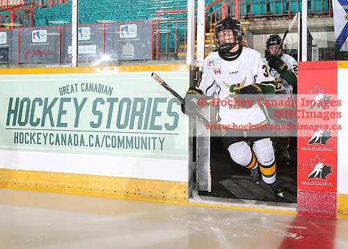 Sudbury, ON - Apr 22 2019 - Stoney Creek Sabres vs. Station Six Fire during the  2019 ESSO Cup at the Gerry McCrory Countryside Sports Complex in Sudbury, Ontario, Canada (Photo: Alex D'Addese/Hockey Canada)