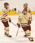 Kevin Hayes (BC - 12), Parker Milner (BC - 35), Chris Kreider (BC - 19) - The Boston College Eagles defeated the Air Force Academy Falcons 2-0 in their NCAA Northeast Regional semi-final matchup on Saturday, March 24, 2012, at the DCU Center in Worcester, Massachusetts.