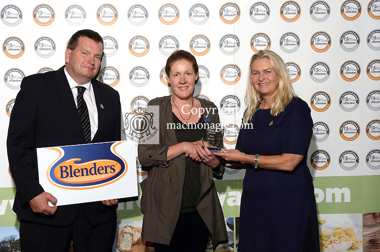 Eleanor Downes, Kinsale Food Company with Birgitta Curtin,  and Shane Ryan, Blenders at the Blas na hEireann / Irish Food Awards in Dingle at the weekend.<br /> Photo: Don MacMonagle<br /> <br /> REPRO FREE PHOTO WITH BLAS NA HEIREANN<br /> further info: Barbara Collins - collib40@googlemail.com