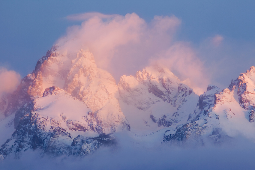 """MAGIC MOUNTAINS"" - The Teton Range at dawn after a fresh snowstorm clears."