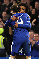 Willian celebrates scoring Chelsea's third goal with Cesc Fabregas during Chelsea vs Hull City, Emirates FA Cup Football at Stamford Bridge on 16th February 2018