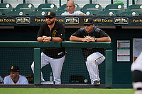 Bradenton Marauders pitching coach Drew Benes (left) and manager Wyatt Toregas (right) during a Florida State League game against the Charlotte Stone Crabs on April 10, 2019 at LECOM Park in Bradenton, Florida.  Bradenton defeated Charlotte 2-1.  (Mike Janes/Four Seam Images)